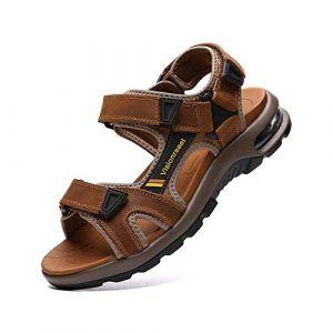 visionreast Sandale Randonnée en Cuir Vachette Chaussure Homme D'Ete Sandale Sport Coussin d'air pour Marche (visionreast, neuf)