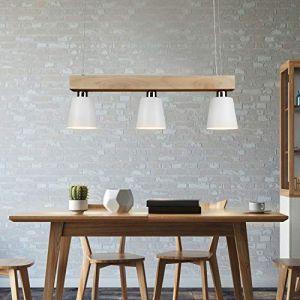 Led Lampe Suspension table à manger Suspension Lampe En Bois Suspension Lampe Suspension Blanc Chaud 3 lumières pour Salle À Manger Chambre Salon Bureau Restaurant Café (Gefunden, neuf)
