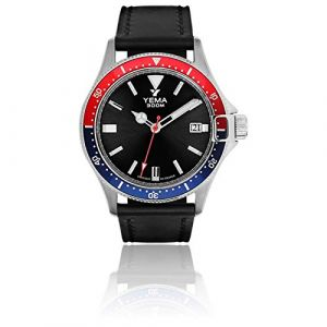 Montre Homme - YEMA - Pro Diver - Bracelet Cuir Noir Lisse - 42mm - 30 Bar -YMHF1554-AA (Montres and Watch, neuf)