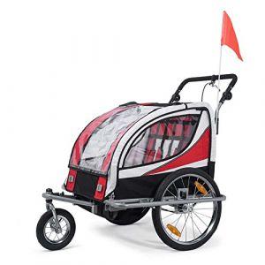 SAMAX Remorque Vélo convertible Jogger 2en1 360° rotatif Pour 2 Enfants Amortisseur Transport Poussette en Rouge - Silver Frame (MA-Trading, neuf)