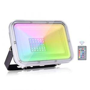 Viugreum® RGB Projecteur, 30W Projecteur LED Couleur 3000LM, Projecteur LED RGB IP67, 16 Couleurs 4 Modes Projecteur Multicolore, Eclairage couleur telecommandée pour Noël Soirée Jardin (Viugreum-EU, neuf)