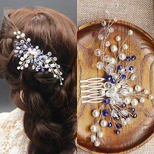 Kercisbeauty Mariage Bleu Perles de cristal Peigne Peigne à cheveux Coiffe Mariage Cheveux vintage Peigne à cheveux Fleur Cheveux Bijoux de cheveux de mariage Accessoires Cheveux (siyuanmaoyiyouxiangongsi, neuf)