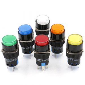 Heschen 16mm ronde momentané Bouton poussoir Interrupteur 1NO 1NC Rouge Bleu Jaune Blanc Vert Orange 12V Lampe LED (Heschen, neuf)