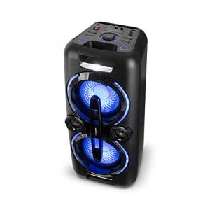 auna Bazzter Système Audio de soirée - 2 subwoofer de 20,3 cm (2 x 8 ) , Enceinte Bluetooth , 100W RMS , Batterie , USB , MP3 , AUX , FM , Micro , Noir (Electronic-Star-FR, neuf)