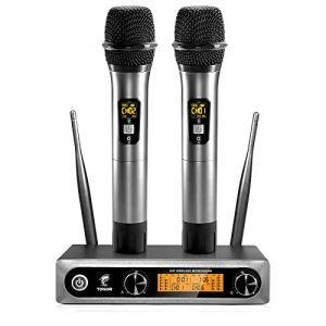 TONOR Microphone sans Fil Systèmes de Micro UHF Double Portable Micro Dynamiques pour karaoké, Fête, DJ, Église, Mariage, Réunion, 200ft (Micfonotech, neuf)