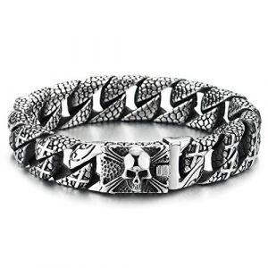 COOLSTEELANDBEYOND Homme Acier Croix Charmes Motif Peau Serpent Chaîne Gourmette Bracelet AVCE Pirate Crâne Fermoir, Gothique Biker (iMECTALII EU, neuf)