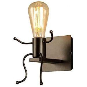FSTH Créatifs Applique Murale Rétro Fer Vintage Lampe murale Moderne Individuels Applique Métal Lampe pour Bar, Chambre à Coucher, Cuisine, Restaurant, Café, Couloir E27 (Noir) (HURRYLM, neuf)