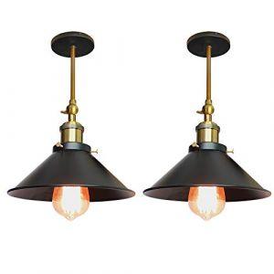 Lot de 2 Rétro Plafonnier Industriel Métal Style Parapluie Chapeau, Lampe Applique Murale Eclairage Luminaire E27 pour Cuisine Salle à manger Salon Chambre (220mm Noir) (STOEX, neuf)