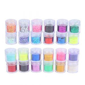 Healifty 24Pcs Nail Art Poudre Kit Art Glitter Sequin Poudre Poussière pour Bricolage Artisanat Nail Art Maquillage Corps (Tahofer, neuf)