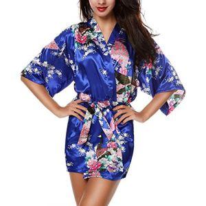E-darter Paon Cardigan Robe de chambre - Satin Soyeux Peignoir Court Kimono Soie Femme (XL, marine) (123Rui, neuf)