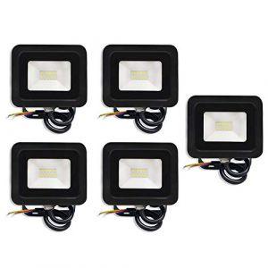 UISEBRT Lot de 5 spots LED extérieurs 10 W blanc froid - Projecteur LED ultra lumineux en aluminium étanche IP65 pour jardin, garage, terrain de sport, hôtel (blanc froid, 5 x 10 W) (UISEBRT, neuf)