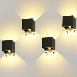 4 Pièces LED Applique Murale Exterieur Interieur 12W Avec détecteur de movement 3000K Luminaire Exterieur Murale IP65 Lampe Murale Avec Angle de Faisceau Réglable Up Down Design (ezon europe, neuf)