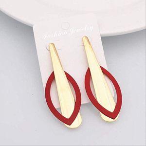 Boucle d'oreille Dangle Style féminin Boucles d'oreilles Géométrique Or Rouge cadeau Pendentif Boucles d'oreilles Couleur Rétro Boucles d'oreillesES1055 (Graceguoer, neuf)