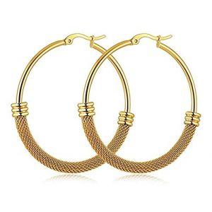Boucle d'oreille ronde en acier titane or jaune titane, grande mode pour femme (EETV, neuf)