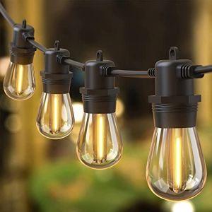 IP65 LED Guirlande Guinguette Extérieure/Intérieure 15 S14 Ampoules, Quntis Guirlande Lumineuse Guinguette pour Soirée Mariage Jardin Terrasse Pergola, Guirlande Décoration Connectable Blanc Chaud (XATANGFANG, neuf)