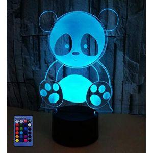 3D Panda LED Lampe Art Déco Lampe Lumières LED Décoration Maison Enfants Meilleur Cadeau Lumière Touch Control 7 Couleurs Change USB Lampes Bureau Powered (HPBN8-Ltd, neuf)
