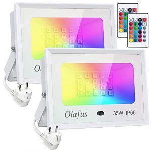 Olafus 2x 35W Projecteurs LED RGB Dimmable, Réglage Télécommande Mémorisée, 16 Couleurs 4 Modes, IP66 Étanche, Spot LED Couleur Extérieur, Éclairage Multicolore Déco pour Arbre, Cour Vidéo Tournage (OLAFUS-EU, neuf)
