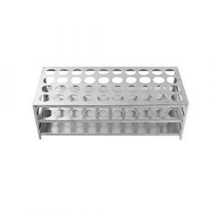 Porte-Tubes en Aluminium, ?18.5mm×40 Positions Support Tubes à Essai, Porte-Éprouvettes de Laboratoire (XRICH, neuf)