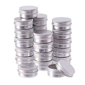 BENECREAT 24 Pots de bidon en Aluminium de 10 ML, boîtes de bidon en Aluminium Rondes, Contenant de cosmétique avec Couvercle à Bouchon à Visser, pour Bricolage-Platine (BENECREAT FR BOUTIQUE, neuf)