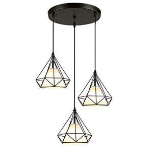 STOEX Rétro Suspension Luminaire Metal Design Diamant Noir, Lustre Abat jour 20cm Fer Lampe Suspendu E27, Suspension Industrielle pour Chambre Restaurant (STOEX, neuf)