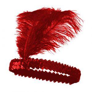 Gcroet 1PC Bandeau Indien Paillettes Coiffe Rouge Plumes Serre-TêTe RéUtilisable Vintage Plumes Flapper Hairband Pour Les Hommes Des Femmes Cosplay (Upperroof, neuf)