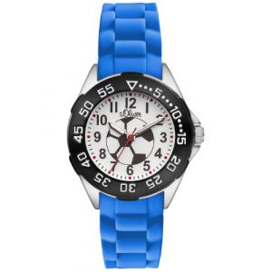 s.Oliver - SO-2833-PQ - Montre Garçon Football - Quartz - Analogique - Bracelet Plastique Bleu (CT COOL TIME, neuf)