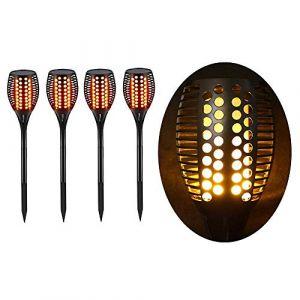 Torche LED Extérieur étanche & Solaire - Décoration de Jardin - Effet Flamme - Lot de 4 (Lighting Arena, neuf)