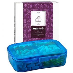 Boîte à Vitamines - Pilulier de Voyage & Boîte à Médicament 6 Compartiments pour Dose Journalière de Comprimés, Compléments Alimentaires et Vitamines par MEDca (RockDealer, neuf)