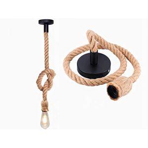 E27 Douille Rétro Lustre Plafond Lampe Suspensions ajustable Rétro Lustre plafond Lampe en Corde de chanvre PR Bar Rope Cafe Stair Restaurant Studio Creative (1m-1 light) (REAYOU, neuf)