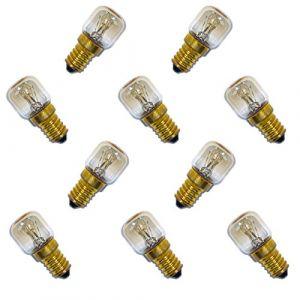 10x AMPOULE DE FOUR 300° E14clair Ampoules à incandescence Machine à coudre Sel Pierre Lampe Pygmy T26Tube LED Blanc chaud Intensité variable, E14 25.00W 230.00V (ncc-design, neuf)