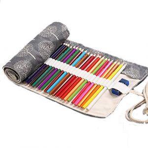 Aikesi trousse à crayon enroulable pour 48 crayons tissu sac à crayons arbre noir et blanc 48+2 trous grande capacité porte-crayons pochettes (Aikesi, neuf)