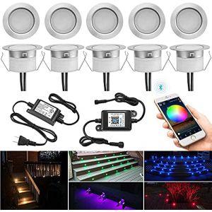 Lot de 10 Bluetooth RGBWW Spot Led Encastrable Exterieur, Ø31mm Dimmable Mini Spot Escalier Spot Piscine Lampe au Sol Spot Encastrable, Etanche IP67 DC12V Spot pour Terrasse Bois (RGB+Blanc Chaud) (MeiMai, neuf)