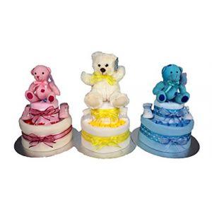 Couches à gâteau à 2étages de luxe Bleu/rose/jaune/mixte/neutre en peluche Teddy Baby Shower Panier cadeau de nouvelle Maman Livraison gratuite. (Baby GAGA, neuf)