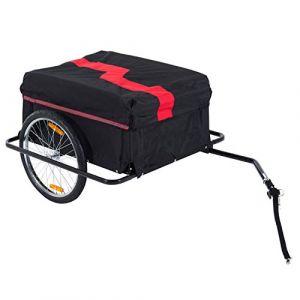 Homcom Remorque de transport velo cargo pliable charge max.60kg avec 4 reflecteurs et housse amovible rouge noir (Aosom fr, neuf)