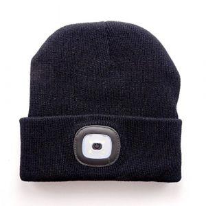 Bonnet avec LED Lampe Frontale Rechargeable Amovible, Chapeau Mode en Tricot Unisexe Led Casquette Chaud Lumineux Capuchon Lampe (Noir) (BulzEU, neuf)