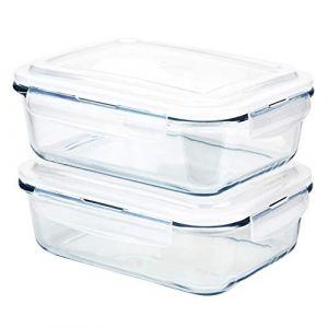 Grizzly Boîte Alimentaire en Verre Hermétiques avec Couvercles Lot de 2 Rectangulaires 1520 ML - Boîtes Conservation sans BPA (AGAN UG, neuf)