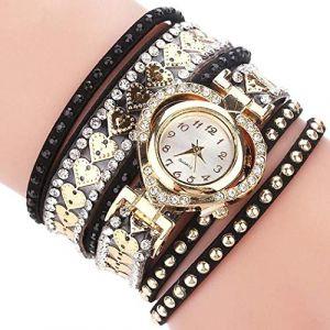 Montre Femme Montre bracelet en strass avec cadran en forme de coeur for femme (Color : Noir) (AiSiWeiDianZi, neuf)