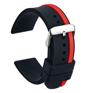 Ullchro Bracelet Montre Remplacer Silicone Bracelet Montre Bicolore - 20, 22, 24mm Caoutchouc Montre Bracelet avec Acier Inoxydable Boucle (24mm, Noir et Rouge) (Ullchro-EU, neuf)