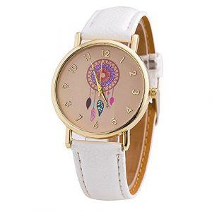 Mode Montre pour Femme Fille - Bracelet en PU Cuir Dreamcatcher Capteur de Rêves Quartz Femme Montre, Blanc (JianYan, neuf)