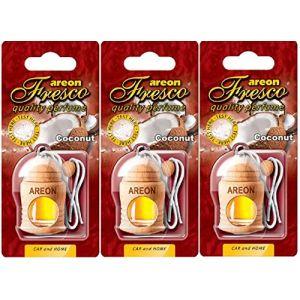 AREON Fresco Désodorisant Voiture Liquide Noix De Coco Bouteille en Bois Flacon Tropical Fruits Rétroviseur Pendu 4ml (Coconut Lot de 3) (My_Beauty_Box, neuf)