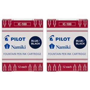 Pilot Namiki IC100 Stylo plume Lot de 2 cartouches de cartouche d'encre, Bleu/noir, 12 par lot (OS) (morgans_direct_ltd, neuf)