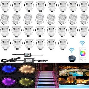 CHNXU 30 LED Spot Encastré Extérieur avec WIFI Contrôleur 30MM Lumière Encastrable IP67 Mini Spots Etanche pour Terrasse Jardin Patio Escalier RGB Changeable DC 12V Puissance:0.1W-0.3W (CHENXU, neuf)