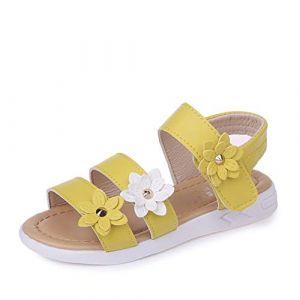 QZBAOSHU Fille Sandales avec Trois Fleurs Cuir Chaussures Sandales pour Peu Fille 28 EU/Étiquette 28 1-Jaune (QZBAOSHU, neuf)