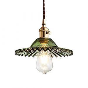 HJXDtech Vintage Industriel E27 Luminaire Suspension Design En Laiton Montage avec abat-jour En Verre Rétro Tressé Flexible Fil De Plafond Suspension Lampe (Vert) (HJXDtech, neuf)