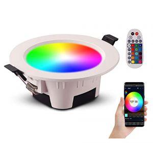 Spot LED Encastrable RGB Couleur Luminosité Réglable 9W 700 Lumens avec Télécommande pour Salon Salle de Bain Cuisine Exposition Couloir (lot de 1) (Xunlefei, neuf)