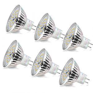 Ampoule LED MR16 Wowatt Ampoule GU5.3 12V Blanc Chaud 2800K 6W Equivalent à 40W 35W Ampoule Halogène AC/DC 12V Spot LED MR16 480LM Lumineux 120° Angle Faisceaux Ø50x45mm Non Dimmable Lot de 6 (wowatt, neuf)