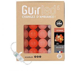 Guirlande lumineuse boules coton LED USB - Veilleuse bébé 2h - Adaptateur secteur double USB 2A inclus - 3 intensités - 16 boules 3.2m - Ottoman (Lighting Arena, neuf)