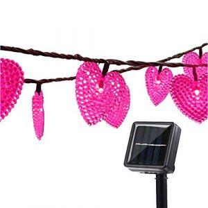 Solaires Coeur D'amour Lumières Extérieures,KINGCOO Imperméable 20ft 30LED Solaire étoilé Décoratif Guirlande Lumineuse avec 8 Modes pour Noël Halloween Mariage (Rose) (KINGCOO-Direct, neuf)