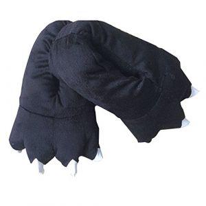 chaussons femme hiver animaux fantaisie peluche noir Griffe pantoufles patte ( Neuf Marketplace )