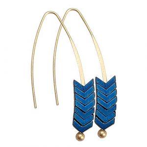 Boucles Flèche Boucle d'oreille Dangle Créoles Rétro boucles d'oreille Grimpeur Longue Ligne D'oreille Unique Goutte Bijoux Fil Fileuse (Color : Bleu) (cbhdsrg, neuf)